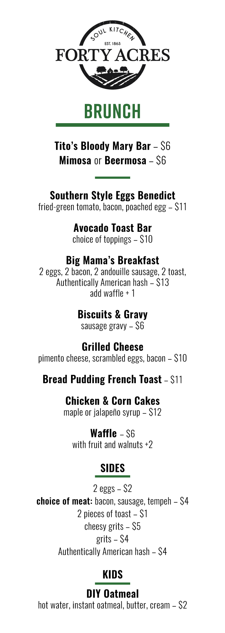 Soul Food Brunch Menu Jan. 11 2019